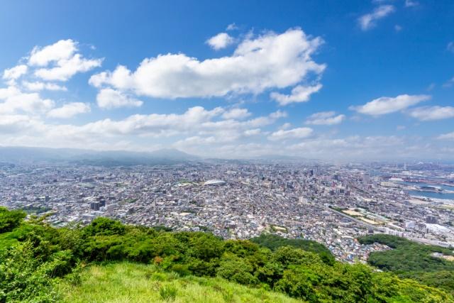 小文字山山頂から見た北九州市街地眺望
